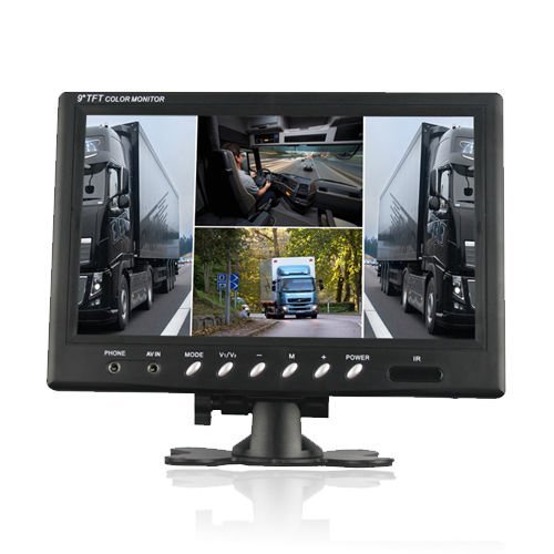 SallyBest® 9 Inch 16:9 HD 4 Split Quad Color TFT LCD Display Monitor 4 Video Input Car Rear View Monitor DVD VCR Camera GPS Headrest Monitor For Car Truck Bus (Quad Display Hd)