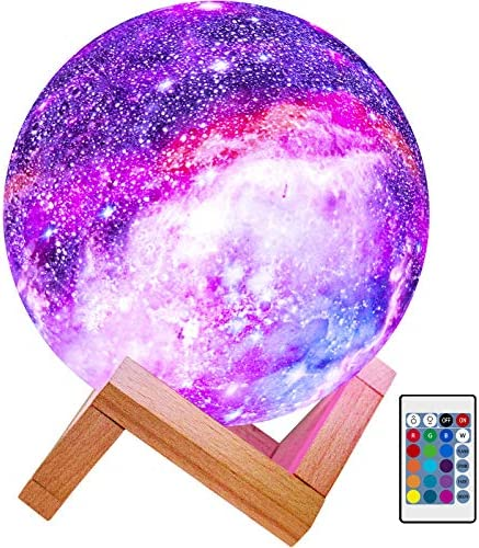 BRIGHTWORLD Moon Lamp Kids Night Light Galaxy Lamp 5.9 inch 16 Colors LED three-D Star Moon Light with Wood Stand, Remote & Touch Control USB Rechargeable Gift for Baby Girls Boys Birthday