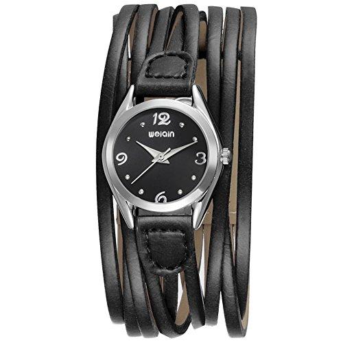 Women Leather Wrap Around Quartz Watch Lady Vintage Bracelet Watches (Black Black)