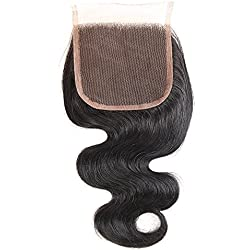 Brazilian Body Wave Closure Unprocessed Human Hair Lace Closure (4X4) Natural Black Color 10Inch