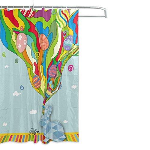 ALAZA Shower Curtain Bunny Rainbow Easter Egg Bathroom Showe