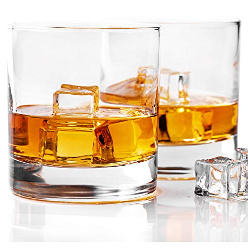 Hi Ball Glass Set - Whiskey Glass Set of 2 -10 oz Bourbon Glasses for Old Fashioned Cocktails, Scotch Glasses, Perfect Rocks Glass & Best Gift Set by Taylor'd Milestones Glassware