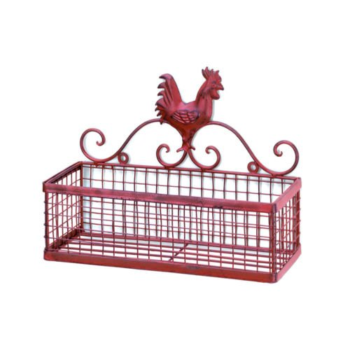 Country Red Rooster Single Wall Hanging Mesh Storage Rack Baskets