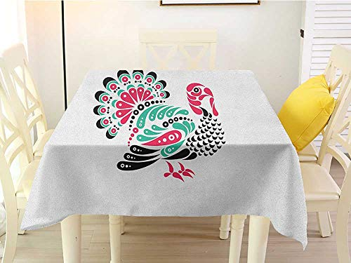 L'sWOW Dustproof Square Tablecloth Turkey Thanksgiving Themed Animal Design with Paisleys Ornamental Elements Pink Sea Green Black White Resistant 60 x 60 Inch