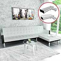 L-shaped Sofa Bed Artificial Leather Seat Reclining, White