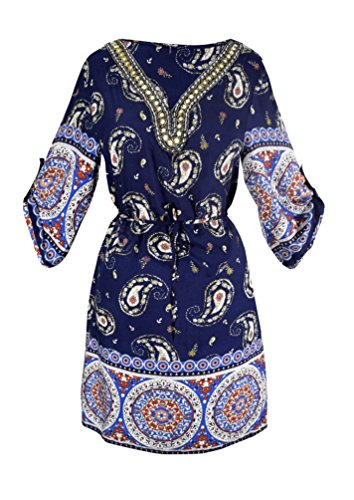 Peach Couture Women's Beaded Gem V Neck 3/4 Sleeve Paisley Border Top Tunic Dress Red Medium