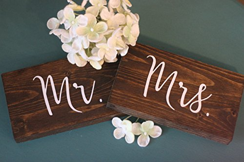 onepicebest Wedding Mr and Mrs Sign wood mr and mrs sign, set of 2 wooden sign, Dark walnut rustic sign, Style Wooden Sign DIY Decor for Wedding Decoration Table Decor Wedding Gift 5.5 x 9 (each sign)