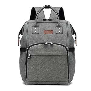 Kono Multi-Function Waterproof Diaper Bag Travel Backpack Nappy Bags for Baby Care Large Capacity Nursing Mummy Handbag (Grey 6705)