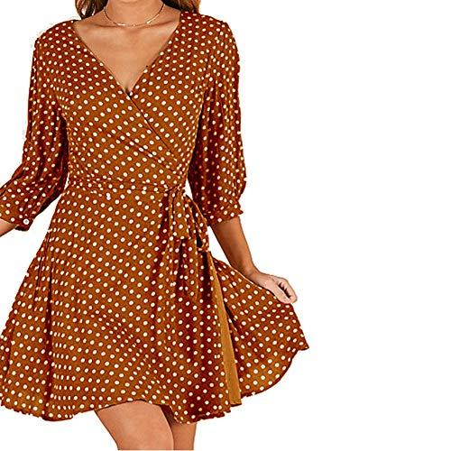 JIZHI Mujer Vaina Vestido A Lunares Mini,Yellow,XL
