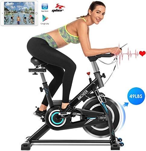 🥇 Ancheer Bicicleta de Spinning Bicicleta Estática de Volante de Inercia de 22kg Bicicletas deCiclo Indoor con Conntrol App Resistencia Ajustable y Monitor LCD para Ejercicio en el Hogar
