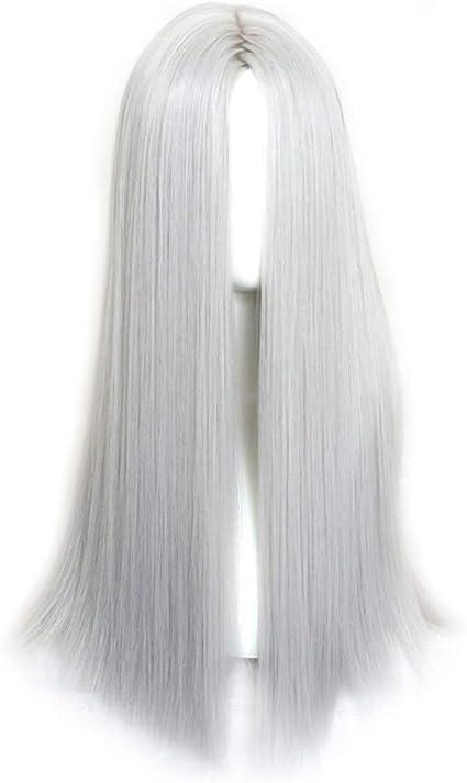 ZHDLJ Peluca Blanco de Pelo Largo de Las Mujeres Peluca Sintética Larga para Mujer Mirada Natural Parte Media Peluca 65cm/26 Pulgadas: Amazon.es: Belleza