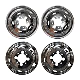 VioGi Fit 4pcs Front+Rear Polished Stainless Steel 17'' Dually 8 Lug 5 Hand Hole Wheel Simulators Hub Caps Skins Liners Covers w/ Removable Centre Caps For 03-14 Dodge Ram 3500 Dually With 17'' 8 Lug 5 Hand Hole Wheels