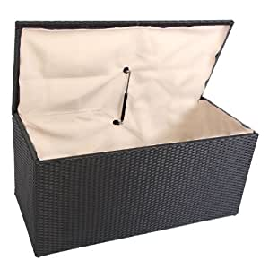 Homy - Baul-Caja de almacenamiento ROM V, dimensiones 118 cm, capacidad 360 litros, en Poly Rattan, color negro