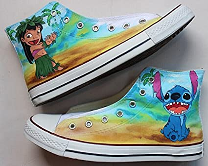 a701fca51fb2 Amazon.com  Lilo and Stitch Converse Shoes Hand Painted Anime Sneaker Converse  Shoes for Sale Unique Design Custom Hand Painted Anime Sneaker