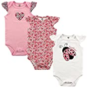 Hudson Baby Baby Girls' 3-Pack Hanging Bodysuit, Love Bug, 0-3 Months