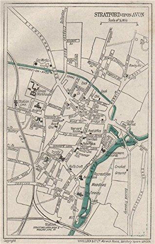 STRATFORD UPON AVON Vintage Town City Plan Warwickshire WARD LOCK