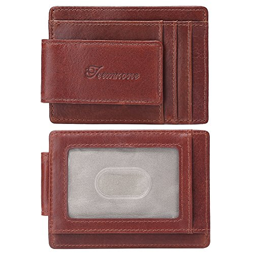Youngate Front Pocket Minimalist RFID Blocking Leather Zipper Wallet for Men