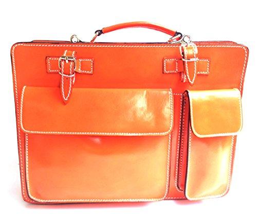 Superflybags Borsa Cartella Porta documenti Vera Pelle Made in Italy modello Classic XL 38x27x10 arancione