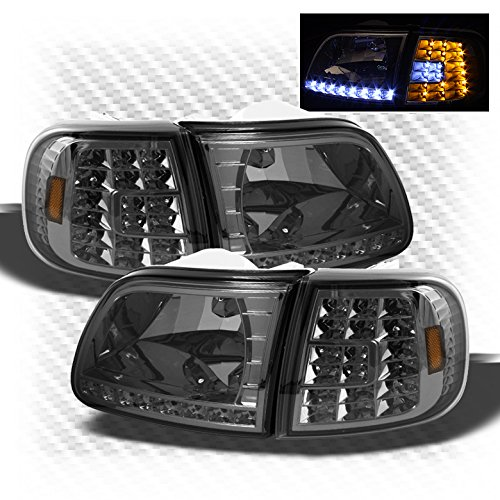 For Smoked 1997 2002 Expedition 1997 2003 Ford F150 Led Headlights Led Corner Pair Left Right 1998 1999 2000 2001 2002