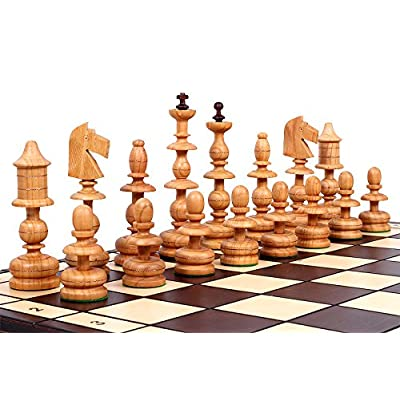 The Alcazar Chess Set an Unique Hand Crafted Wood Chess Pieces with a 5 inch King, 22.8 inch Wooden Chess Board that Folds for Chess Piece Storage: Toys & Games