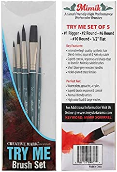 Size 10 Creative Mark Mimik Paint Brush Professional Artist Synthetic Hog Bristle Long Handled Brush Bright