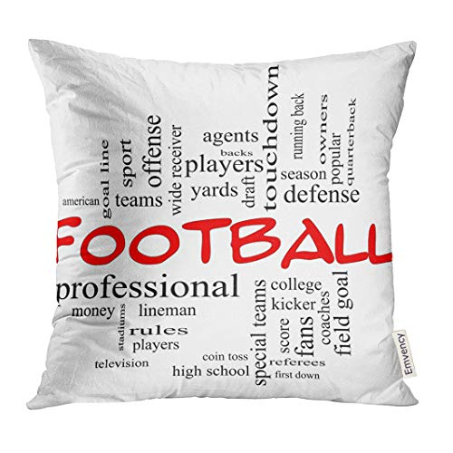 UPOOS Throw Pillow Cover Football Word Cloud in Red Caps with Great Terms Such As Yards Touchdown Season Quarterback Fans Games Decorative Pillow Case Home Decor Square 18x18 Inches Pillowcase