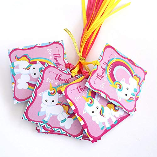 Unicorn Thank You Favor Tags - Girl Kids Birthday Baby Shower Magical Party Gift Tags - Set of 12