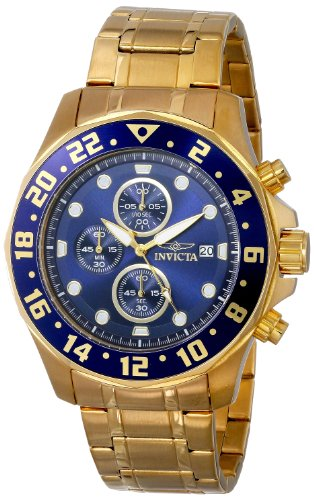 Invicta Men's Specialty Chronograph 18K Gold Plated Steel Bl