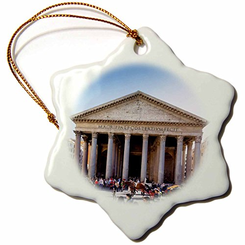 3D Rose the Pantheon Worlds Largest Unreinforced Concrete Dome in Rome-Italy Snowflake Ornament, 3'' by 3dRose