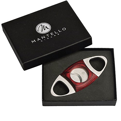 - Mantello Cherry Wood & Stainless Steel Cigar Cutter Guillotine Double Cut Self Sharpening Blades