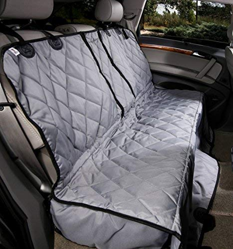 4Knines Dog Seat Cover with Hammock for Fold Down Rear Bench Seat 60/40 Split and Middle Seat Belt Capable - Heavy Duty - Grey Regular - for Cars, SUVs, and Small Trucks - USA Based Company