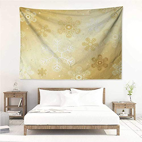 alisos Christmas,Room Tapestry Snowflakes Pattern Noel Holiday Yuletide Themed Winter Inspired Artsy Image 72W x 54L Inch Wall Decoration Tapestry Beach Mat Sand Brown ()