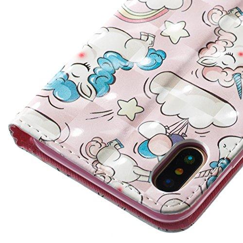 Lotuslnn iPhone X / 10 caja del teléfono, caja de cuero de la PU cubierta de cierre magnético cubierta con Kickstand y ranuras para tarjetas de bolsillo en efectivo para iPhone X / 10 - Gray bear Horse pink