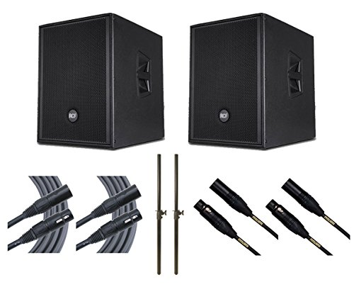 2x RCF SUB905-AS MKII Subwoofer Active Sub + Mogami Cables + Mounting Poles by RCF