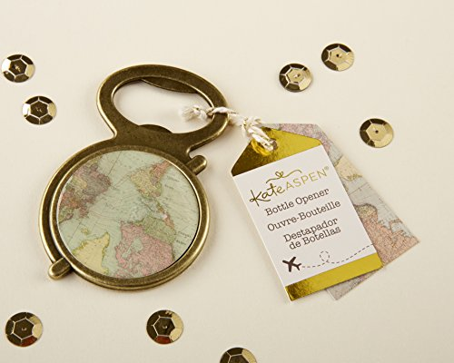 Kate Aspen, Antique Gold Globe Bottle Opener, Perfect Gift/Favor/Decor for Travel Themed Party