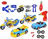 King Of Toys World Racing Motorcycle & car Take-A-Part Toy for Kids with 54 Take Apart Pieces, Tool Drill, Lights and Sounds,Special KID'S SAFE Storage Bag to protect from loosing pieces included