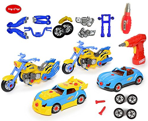 King Of Toys World Racing Motorcycle & car Take-A-Part Toy for Kids with 54 Take Apart Pieces, Tool Drill, Lights and Sounds,Special KID'S SAFE Storage Bag to protect from loosing pieces included (Best Car To Build For Racing)