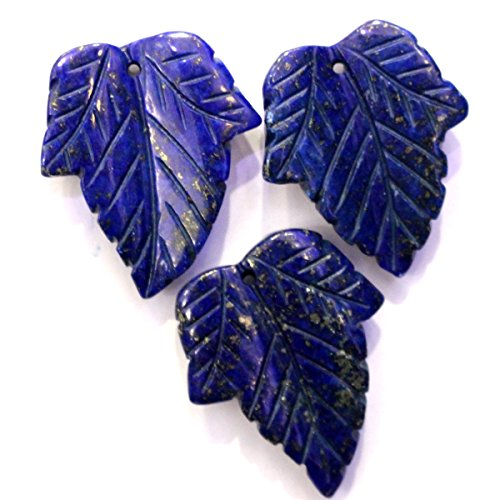 3pcs Carved Natural Gemstones Leaf Pendant 24*30mm Loose Beads Findings for Jewerlry Making (dyed lapis lazuli) ()