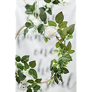 Ling's moment Summer Greenery Wedding Handcrafted Vine Wreaths Set of 6, Christmas Decor Rustic Wedding Backdrop, Artificial Roses Plant Flower Garland, Woodland Wedding Decoration Floral Hoop 2