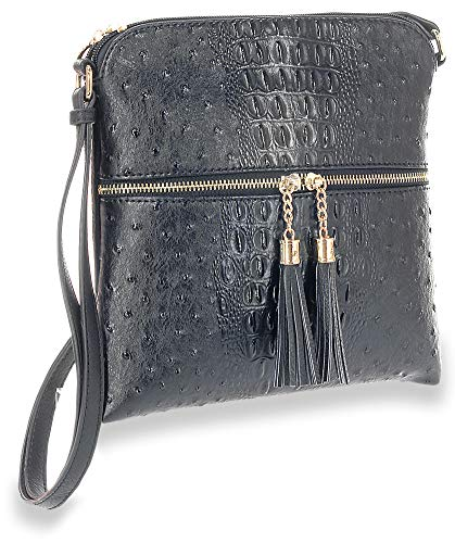 Accented Crossbody Sling Tassel Sling Accented Black Tassel Black Crossbody BXBpqwCn