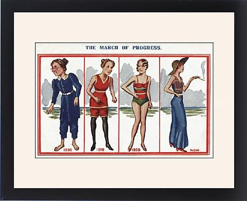 Framed Print of The March of Progress - Changing Womens Beachwear Fashion