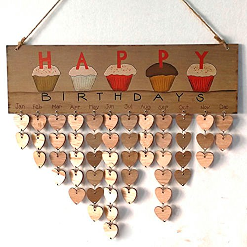 Family Birthday Board - DIY Wooden Calendar Sign Plaque Anniversary Plaque Wall Birthday Reminder Calendar - Home Decorative]()
