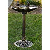 Alpine TIZ122 32-Inch Birdbath with 2 Birds-Bronze