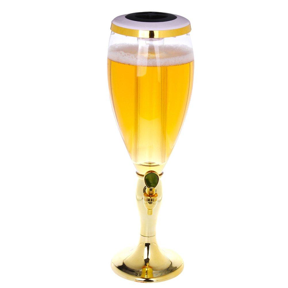 BESTOMZ Distributore per birra Erogatore di bevande con luci a LED da 1, 5 L di plastica per la casa e le feste (Dorato)