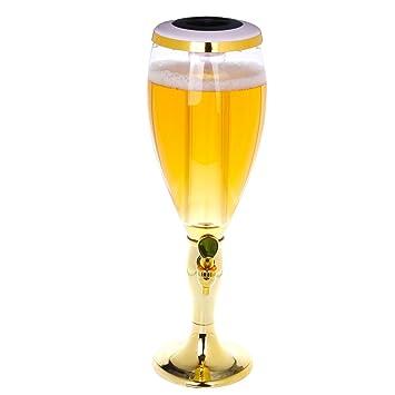 BESTONZON Dispensador de cerveza refrescante Mesa de vino Cerveza Torre Dispensador de jugo de bebidas con luces de colores brillantes de LED 1.5 L de oro: ...