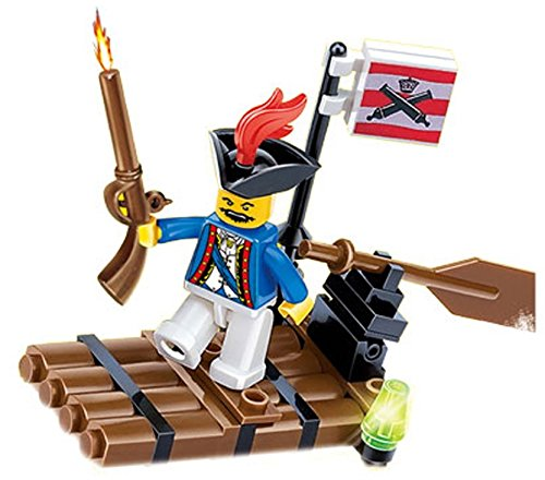 Pirates Raid Sea Predatory - 41 pcs pirate adventure raft pack armed with gun, flag and movable row paddle for a blast cruise with black hat Pirate - a must for children 6+ Compatible Bricks (Pirate Adventure Fun Kit)