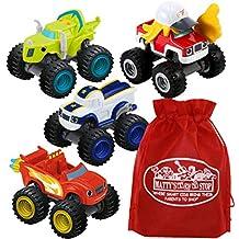 [Patrocinado] Fisher-Price Nickelodeon Blaze & The Monster Machines – Juego de regalo con bolsa de almacenamiento de juguete de Bonus Matty – 4 unidades