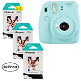 Fujifilm Instax Mini 9 Instant Camera (Ice Blue), 3X Twin Pack Instant Film (60 Sheets) Bundle