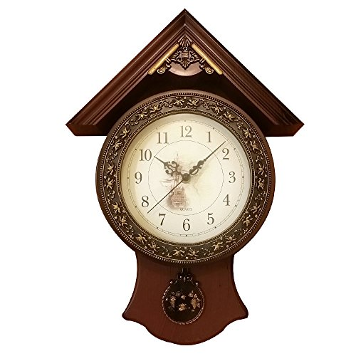 Decor Hut Brown Mahogany look with gold flowers 17 inch wall clock, vintage look, Qaurtz movement,