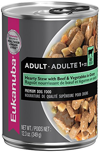 EUKANUBA Adult Hearty Stew with Beef and Vegetables in Gravy Canned Dog Food 12.3 Ounces (Pack of 12) by Eukanuba